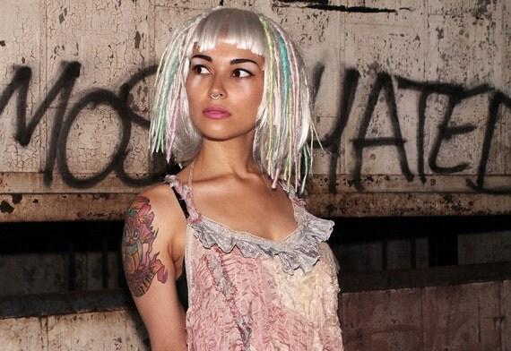Platinum Dreadlock Wig, Pastel dread locks, Cosplay Festival Hair, Bohemian Circus Performer Hair,  Crude Things
