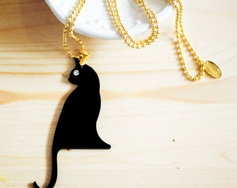 The Black Cat Charm Necklace,Halloween Necklace