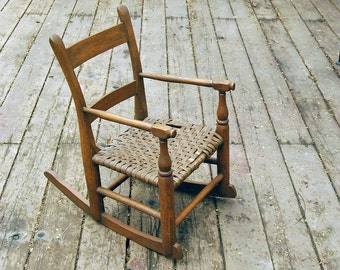 Vintage Child's Chair Rocking Chair Brown Oak Wood Woven Cane Seat Doll Furniture Mid Century Rustic Seating Cabin Home Decor