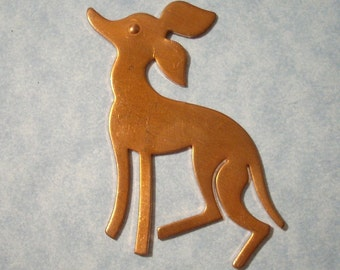 Vintage Copper Dog Stamping Dog Necklace Pendant Dog Pendant