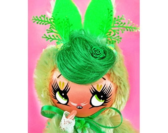 RESERVED FOR AMY easter bunny doll big eye boopsiedaisy fuzzy plush rabbit This is Lettuce