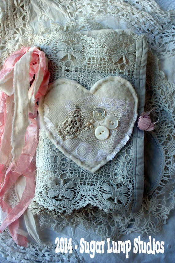 Book Cover Handmade Valentines : Valentine ooak fabric collage book with vintage laces and