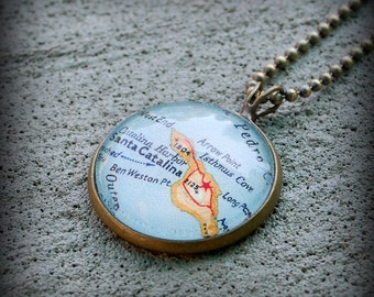Catalina Island Map Necklace