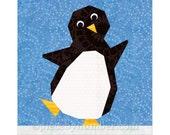 Penguin quilt block, paper pieced quilt pattern, instant download, PDF pattern, penguin pattern, animal pattern animal quilt holiday pattern