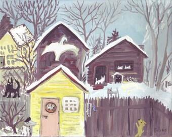 Cats in Snowy Back Yard Original Art Painting - Whimsical Winter Animal Bird Folk Art
