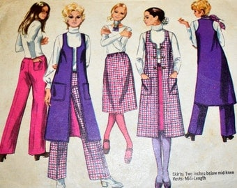 Sewing Pattern Simplicity 9075  Dress, Vest, and Pant Size 7/8 Bust 29 inches  Complete