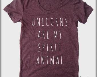 Unicorns are my spirit Animal American Apparel tee tshirt shirt Heathered vintage style screenprint ladies scoop top