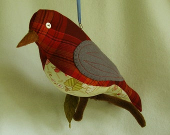 Warm fire tones plaid Bird on a Branch soft sculpture plush bird decor