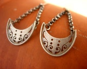 Sterling Silver Handcut Small Crescent Moon Earrings. Modern Medieval.