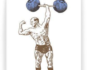 Blueberry Strongman:  Boxed Set of 8 Greeting Cards
