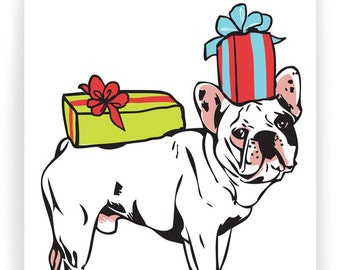 French Bulldog with Presents - Boxed Set of 8 cards