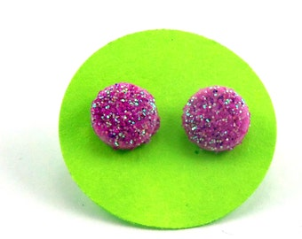 Pink Glitter Dot Earrings