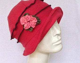 Organic Cloche Hat - Flapper Style - Organic Cotton and Hemp -  Coral Red - Emma Rose