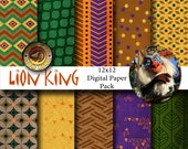Disney Lion King Inspired 12x12 Digital Paper Backgrounds for Digital Scrapbooking, Party Supplies, etc -INSTANT DOWNLOAD -