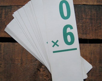 Vintage Oversized Tall & Skinny Multiplication Flash Cards - Set of 12 - Mathematics, Learning