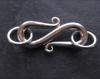 Solid Sterling Silver - bright polished S hook clasp - Simple easy closure finding - 20mm X 7mm