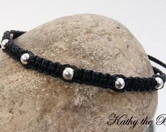 Macrame Bracelet - Black Sterling Silver Macrame Bead Bracelet - KTBL
