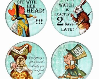 Alice in Wonderland Mad Hatter White Rabbit Queen and Duchess Magnets or Pinback Buttons or Flatback Medallions Set of 4