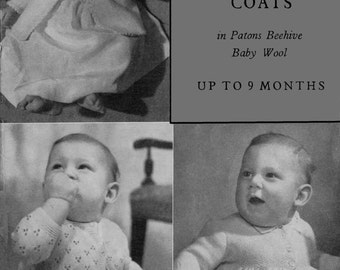 Vintage Baby's Matinee Coat in 3 Style's, Knitting Pattern, 1950/1960 (PDF) Pattern, P&B 363