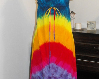 Tie Dye Rainbow Regency Hippie Dress Blue on Top!
