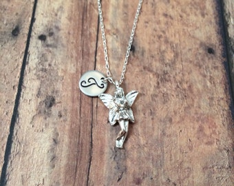 Fairy initial necklace - fairy jewelry, fairy tale necklace, fairy princess necklace, fairy charm necklace, silver fairy necklace