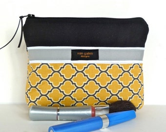 Zippered Flat-bottom Cosmetic Bag/Zippered Pouch Yellow Lattice