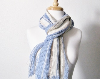 Skye Blue Scarf - Fine Handknit Handmade Slow Fashion Sky Blue Fleece White Striped Women's Scarf - Lightweight, Handknit, Clearance Sale