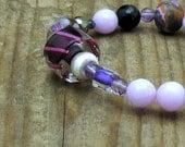Amethyst Luxe Bohochic Beaded Bracelet  Purple Berry Lampwork Amethyst Stretch Bracelet Mod Urban