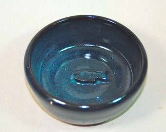 blue ceramic pottery, handmade  dish for your pet  B3