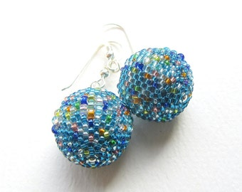 Disco Ball Earrings, Beaded Bead Earrings, Lightweight Dangle Earrings, 18mm, Aqua Blue and Multicolour, Sterling Silver  Earwires
