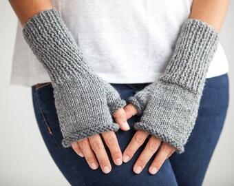 Gray - Light Gray Knitting Fingerless Gloves