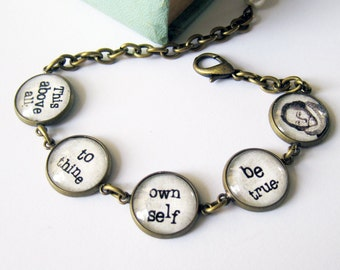 Shakespeare Quote Antique Brass Bracelet