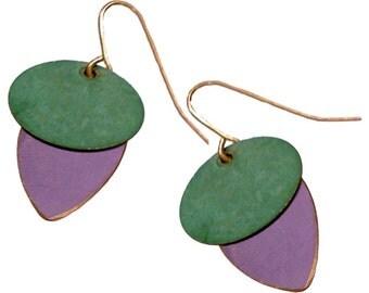 Brass Patina Earrings in Mustard and Purple