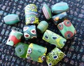 13 Vintage African Trade Beads in Greens
