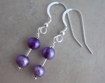 purple pearl sterling silver earrings