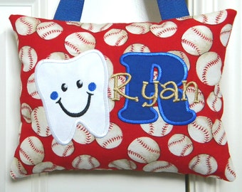 Boys Tooth Fairy Pillow Personalized Baseballs