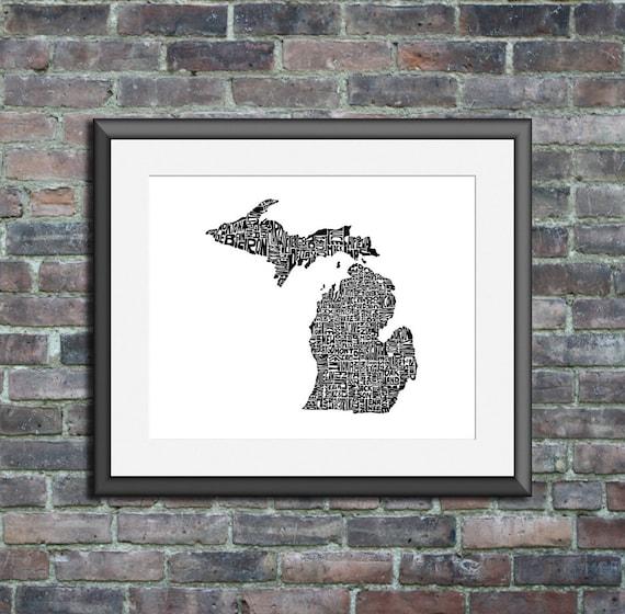 Michigan typography map art print 8x10 customizable personalized custom state poster wall decor engagement wedding housewarming gift