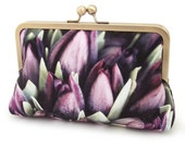 Clutch bag, silk purse, flower buds, spring petals, wedding purse, bridesmaid gift, PURPLE TULIPS