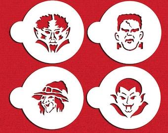 Halloween Cookie Monster Faces Cookie / Cake Stencil Set - Designer Stencils (C451) Witch, Vampire, Werewolf, Frankenstein, face painting