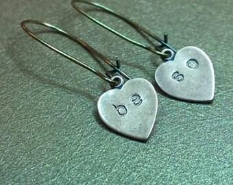 Beso.Sweet Kisses Heart Dangle Copper and Brass Dangle Handmade Earrings