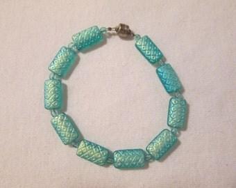 Aqua Glass Beaded Bracelet