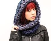 Secret Fashion Cowl scarf Hood eternity loop Vegan Teal grey blue nautical midnight Sailors Storm