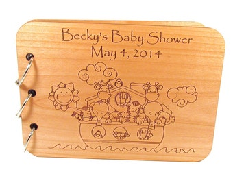 Noah's Ark Baby Shower Guest Book - Personalized Wooden Baby Book