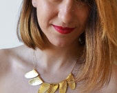 Gold Petals Necklace,Chunky Gold Bib, Geometric Unique Gold Necklace, Stylish Gold Statement Bib