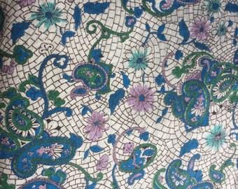 Vintage 1950s Teal Blue Purple Printed Paisley Cotton - 4 Yards - Fabric Yardage / Vintage Yardage / Cotton Fabric/ 1950s Fabric / 50s