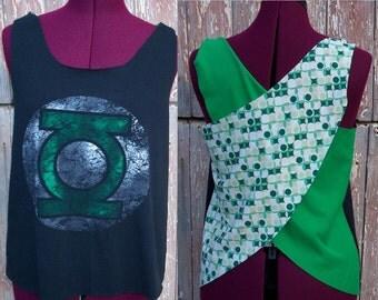 Size XS Green Lantern Upcycled Tank Top DIY