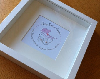 New Baby Birth Personalised Commemorative Framed Pram Artwork