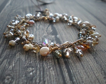 Bridal Charm Bracelet - Handmade Charms - Sparkly Crystal Beads - Special Occasion - Cotillion Bat Mitzvah - Christmas Gift - Neutral Colors