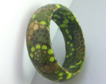 Olive and Lime Green Floral Hand-Decoupaged Handmade Wood Bangle Bracelet