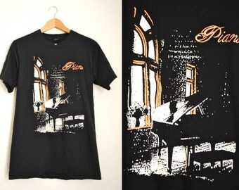 Vintage 80s Piano Virtuoso Graphic T Shirt